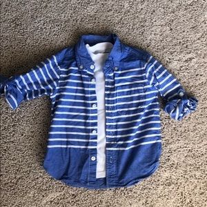 Boys button up striped shirt with under shirt.